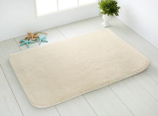 bathroom carpet on white wooden floor