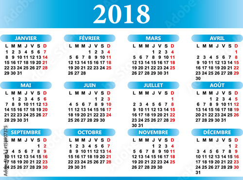 french calendar year 2018