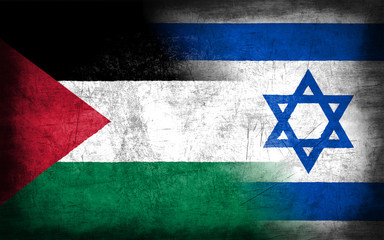 Palestine and Israel flag with grunge metal texture