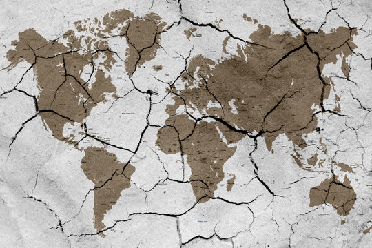 World map with dried soil texture
