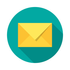 Mail icon with long shadow. Flat design style. Round icon. Mail silhouette. Simple circle icon. Modern flat icon in stylish colors. Web site page and mobile app design vector element.