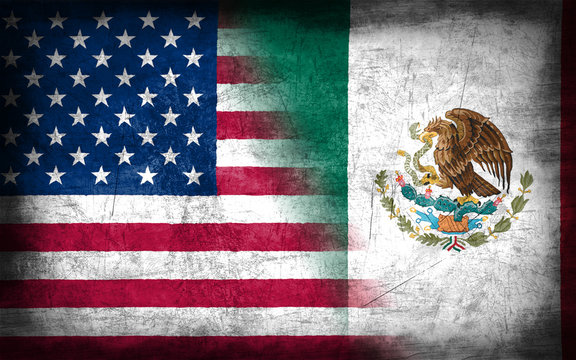 USA and Mexico flag with grunge metal texture