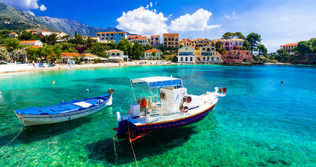 Sunny colorful Greece - picturesque village Assos in Kefalonia, Ionian islands Wall mural