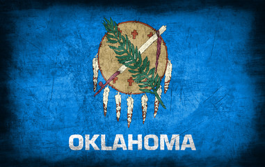 Oklahoma flag with grunge metal texture