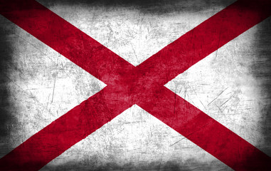 Alabama flag with grunge metal texture