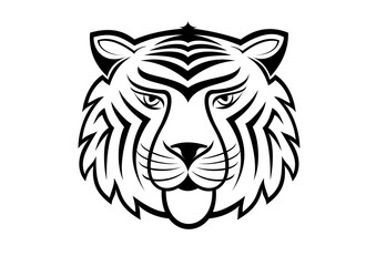 Tiger head, black and white tattoos