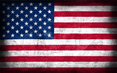 USA flag with grunge metal texture
