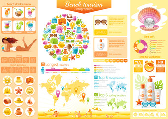 Summer beach travel icon set infographics diagram. Sea vacation icons, isolated background. People tourism symbol, world map - America, Australia, Europe, Africa, Asia diving, surfing location