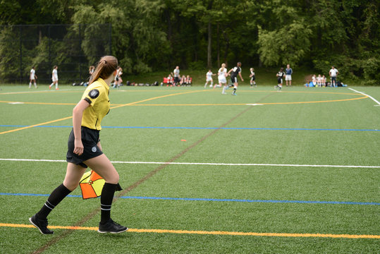 Lineswoman watching for offside