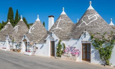 Scenic sight in Alberobello, the famous Trulli village in Apulia, southern Italy.