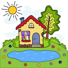 The handmade drawing summer country house and lake