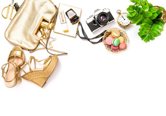 Flat lay social media fashion bloggers Bag shoes photo camera