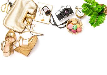 Flat lay social media fashion bloggers Bag shoes photo camera