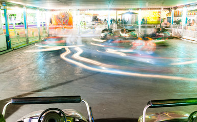 Bumper Cars Amusement Park Ride Blurred Motion