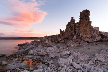 Rock Salt Tufa Formations Sunset Mono Lake California Nature Outdoors