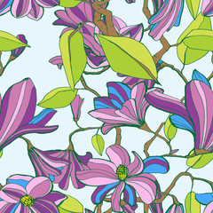 Magnolia blossom colorful seamless pattern