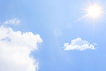 Blue sky with cloud and the sun.