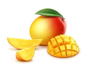 Whole and sliced mango cubes