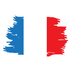 Isolated grunge textured French flag, Vector illustration