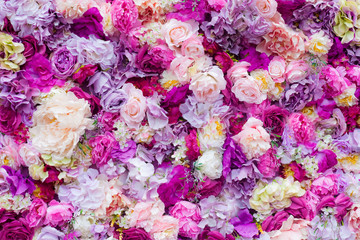 Photo sur Aluminium Fleurs Vintage Beautiful flowers background for wedding scene, flowers made of fabric, artificial flowers
