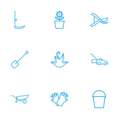 Set Of 9 Household Outline Icons Set.Collection Of Grass-Cutter, Plant Pot, Safer Of Hand Elements.