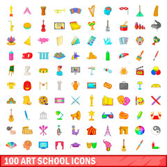 100 art school icons set, cartoon style
