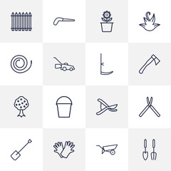 Set Of 16 Farm Outline Icons Set.Collection Of Arm-Cutter, Secateurs, Plant Pot And Other Elements.