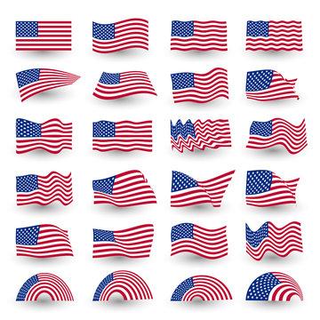 Independence day flag set of united states american symbol wavy shape. july fourth vector logo, illustration.