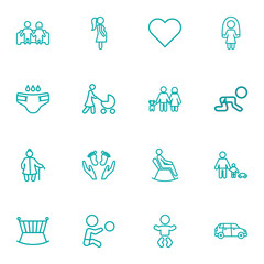 Set Of 16 Relatives Outline Icons Set.Collection Of Car, Stroller, Crawling Kid And Other Elements.