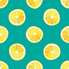 Hand drawn seamless pattern with lemon slice, Summer fruits. Trendy tropical seamless pattern