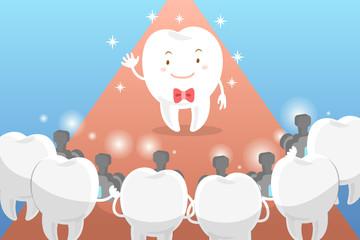 cartoon tooth with paparazzi