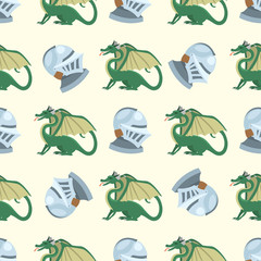 Fantasy knight dragon flying seamless pattern mythology monster background vector illustration.