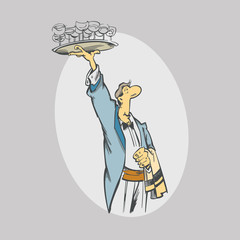 Cartoon waiter with  glasses on tray. Service workers and catering. vector Illustration