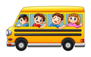 Cartoon kids going to school by school bus