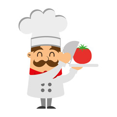 funny chef with tomato avatar character vector illustration design