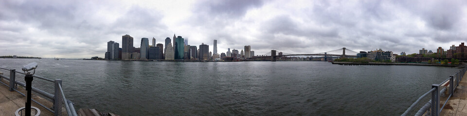 Long Panoramic New York City Manhatten Downtown City Skyline