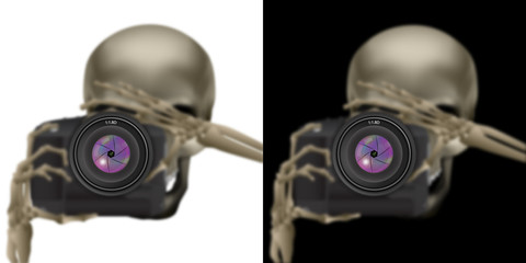 Skull skeleton with camera
