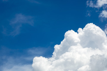 different shape of clouds in the blue sky with blank copy space.