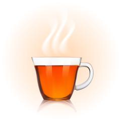 Glass cup of black tea on orange background