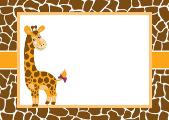 1036267 Vector Card Template with a Cute Giraffe on Spotted Skin Background. Vector Baby Giraffe.