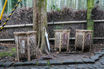 Bamboo garbages at bamboo forest of Arashiyama