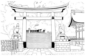 漫画風ペン画イラスト 神社