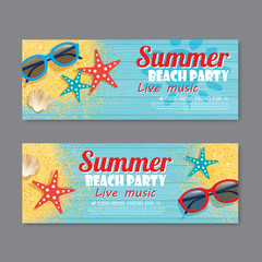 summer beach party invitation ticket template background