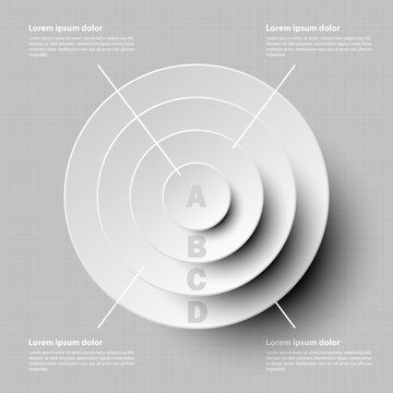 Simple white 3d paper circle in four layer topic for website presentation cover poster vector design info graphic illustration concept