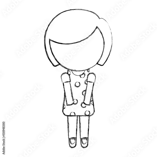 Sketch Draw Faceless Cute Little Girl Vector Illustration Graphic