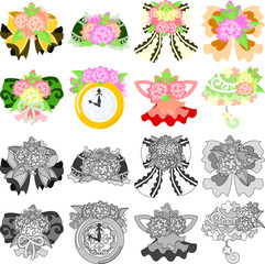 The cute icons of flower objects such as ribbon and clock and parasol