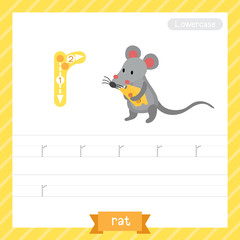 Letter R lowercase tracing practice worksheet with rat for kids learning to write. Vector Illustration.
