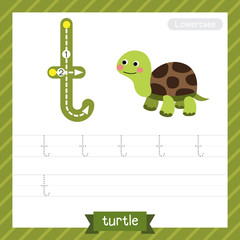 Letter T lowercase tracing practice worksheet with turtle for kids learning to write. Vector Illustration.