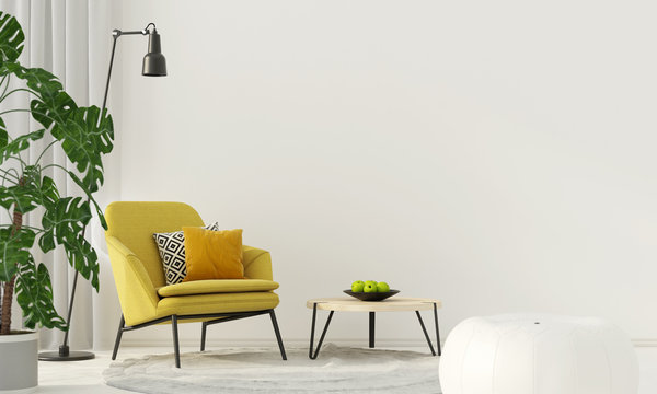 Colorful interior with a yellow armchair