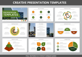Set of yellow and green elements for multipurpose presentation template slides with graphs and charts. Leaflet, corporate report, marketing, advertising, annual report, book cover design.